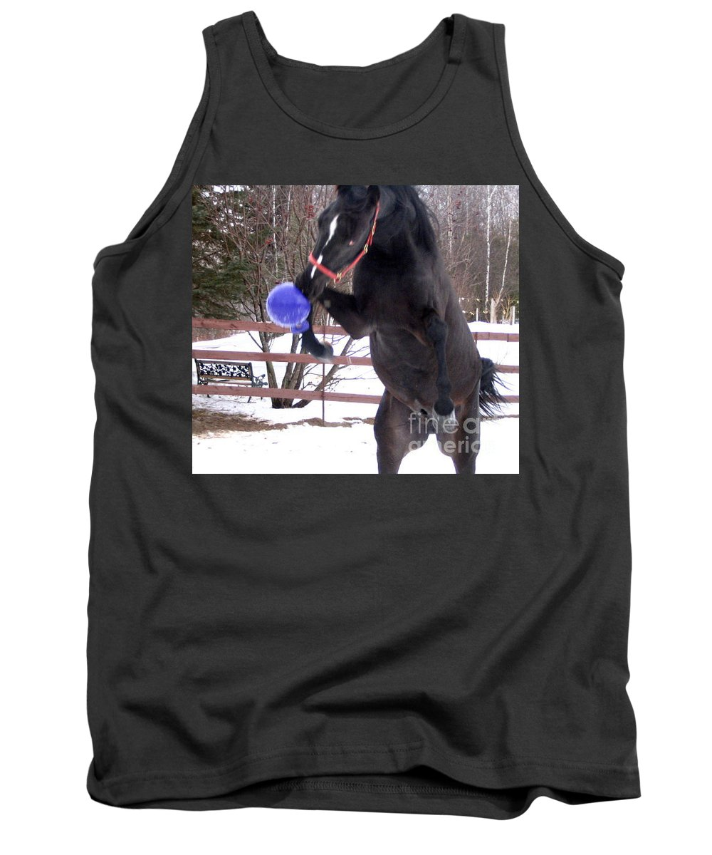 Horse Tank Top featuring the photograph Horse Playing Ball by Line Gagne