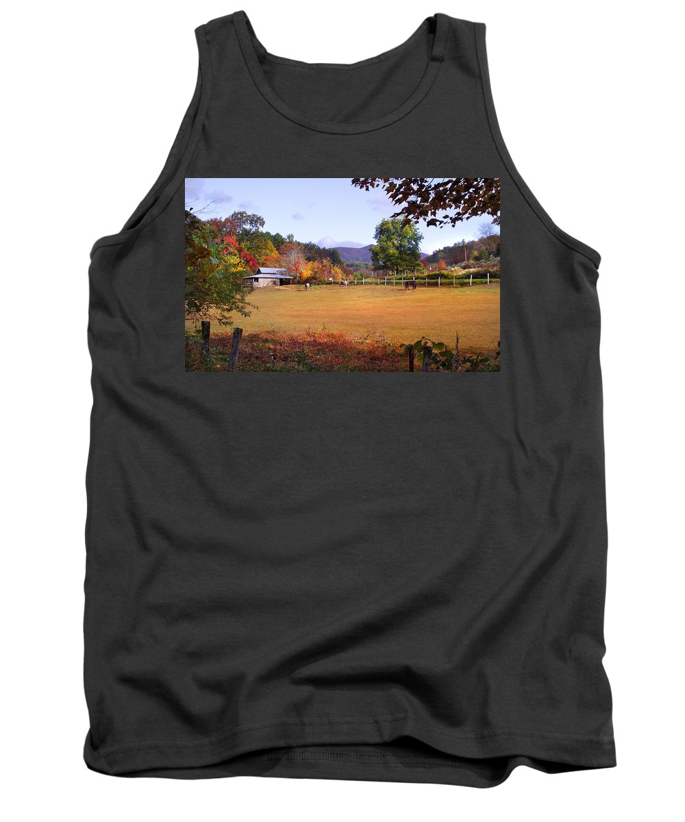 Duane Mccullough Tank Top featuring the photograph Horses And Barn In The Fall 4 by Duane McCullough