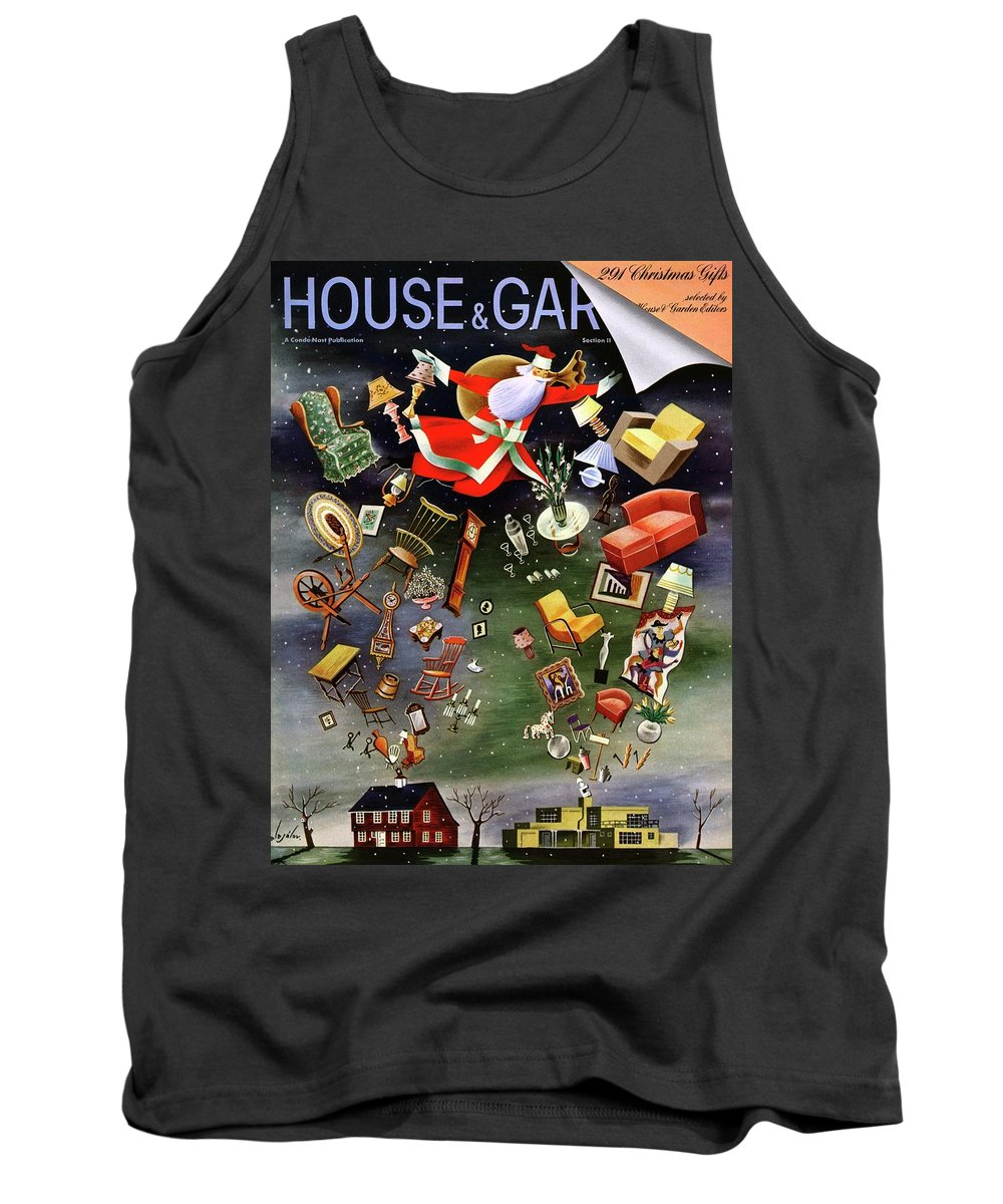 House And Garden Tank Top featuring the photograph House And Garden Christmas Gifts Cover by Constantin Alajalov