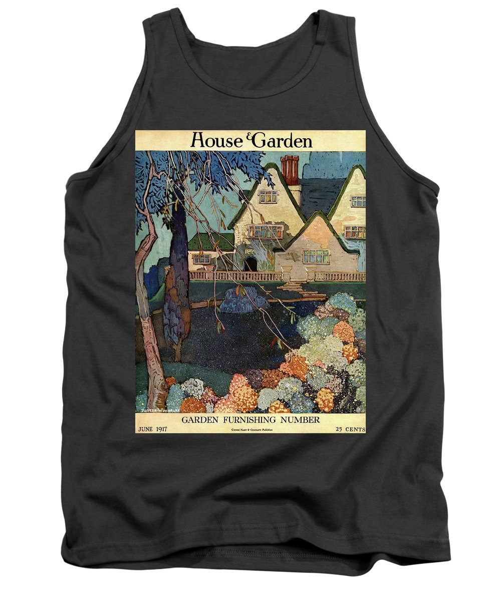Illustration Tank Top featuring the photograph House And Garden Garden Furnishing Number Cover by Porter Woodruff