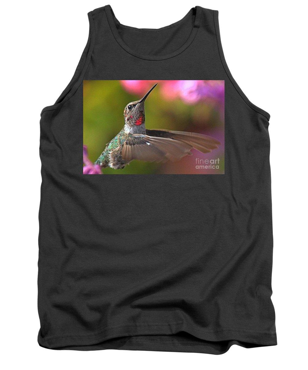 Hummingbird Tank Top featuring the photograph Hummingbird Intensity by Adam Jewell