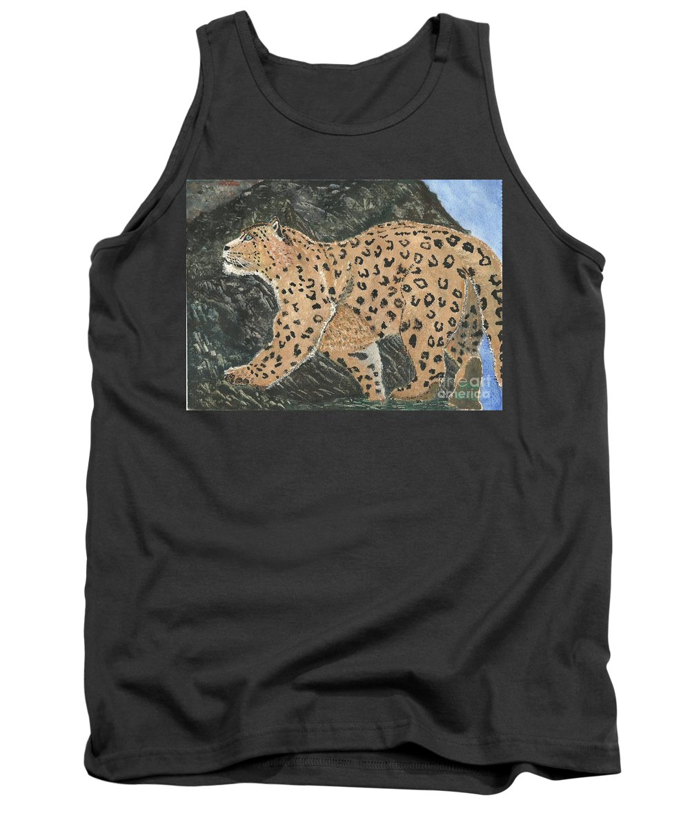 Snow Leopard Tank Top featuring the painting Hunting In The Hills by John Williams