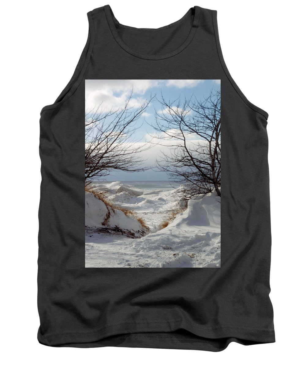 Michigan Tank Top featuring the photograph Ice Between The Trees by Linda Kerkau