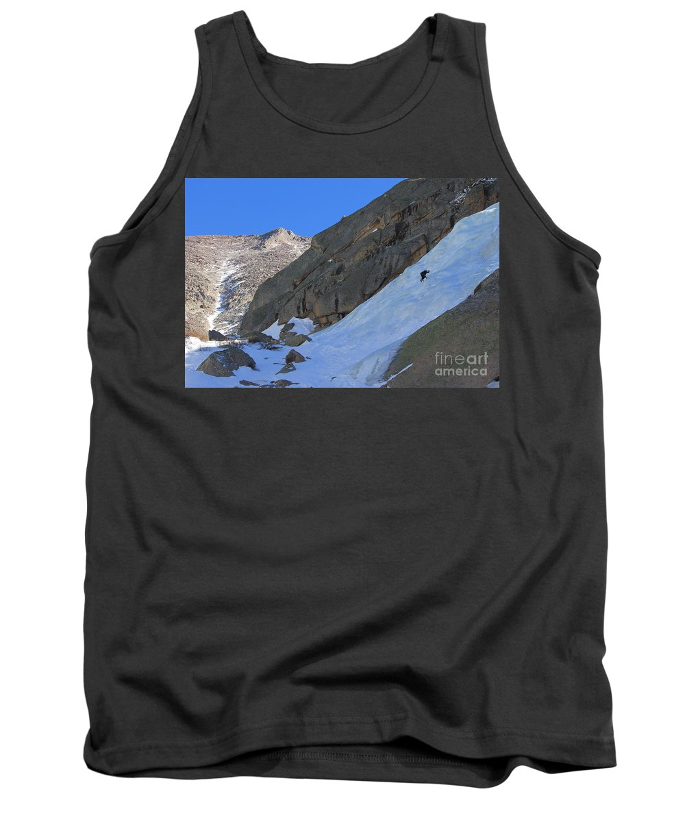 Ice Tank Top featuring the photograph Ice Climbers In A Stark Contrast by Tonya Hance