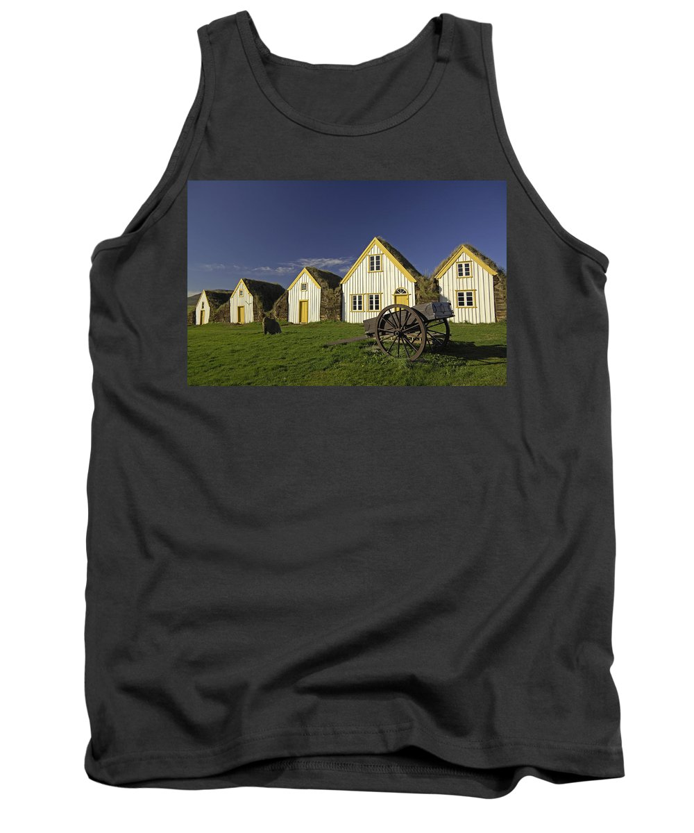 Home Tank Top featuring the photograph Icelandic Turf Houses by Claudio Bacinello