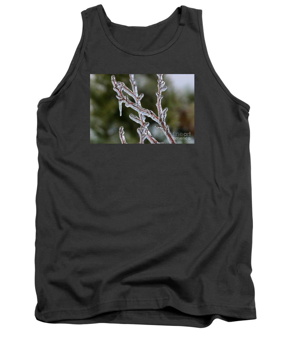 Ice Tank Top featuring the photograph Icy Branch-7485 by Gary Gingrich Galleries