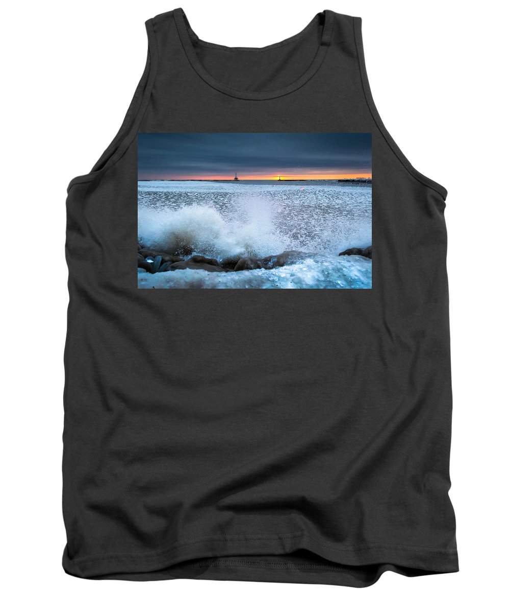Ice Tank Top featuring the photograph Icy Waves by James Meyer