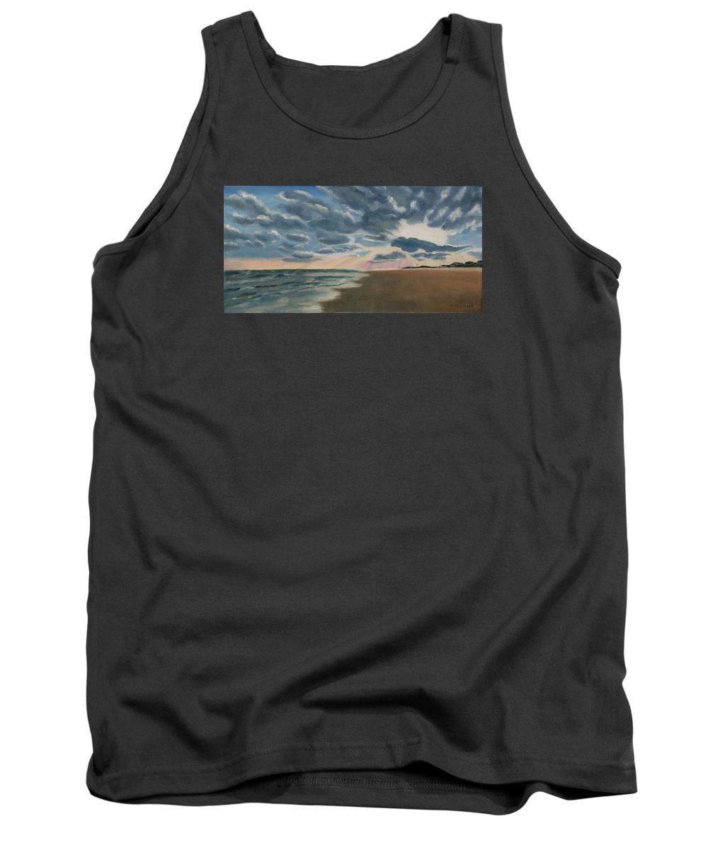 Beach Tank Top featuring the painting Illuminated Clouds by Jill Ciccone Pike