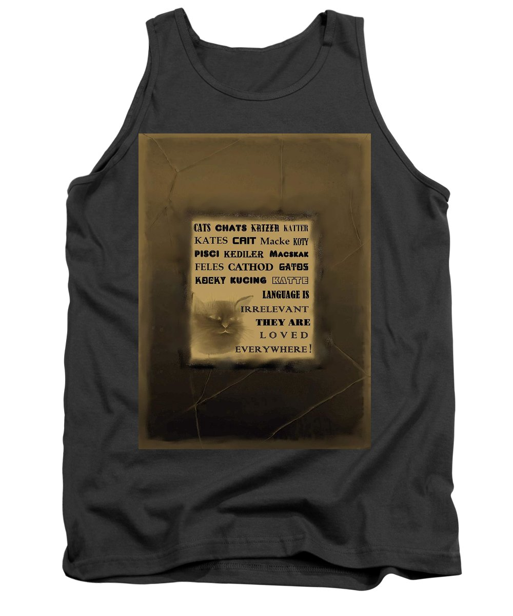 Diane Strain Tank Top featuring the painting In Any Language We Still Love Cats - Poster No. 2 by Diane Strain