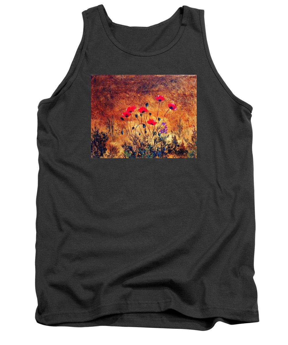 Poppies Tank Top featuring the painting In Harmony by Mary Arneson