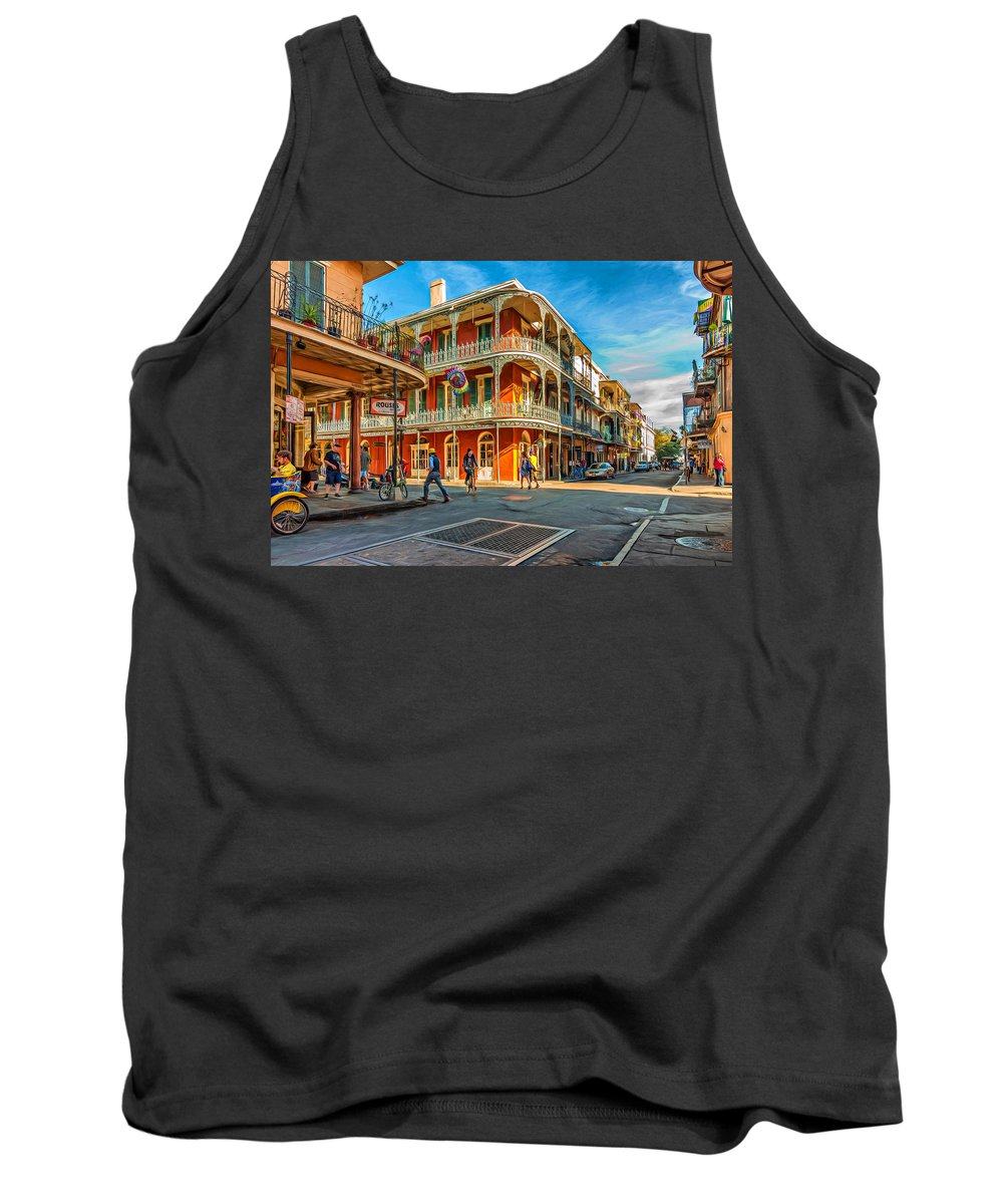 French Quarter Tank Top featuring the photograph In The French Quarter - Paint by Steve Harrington