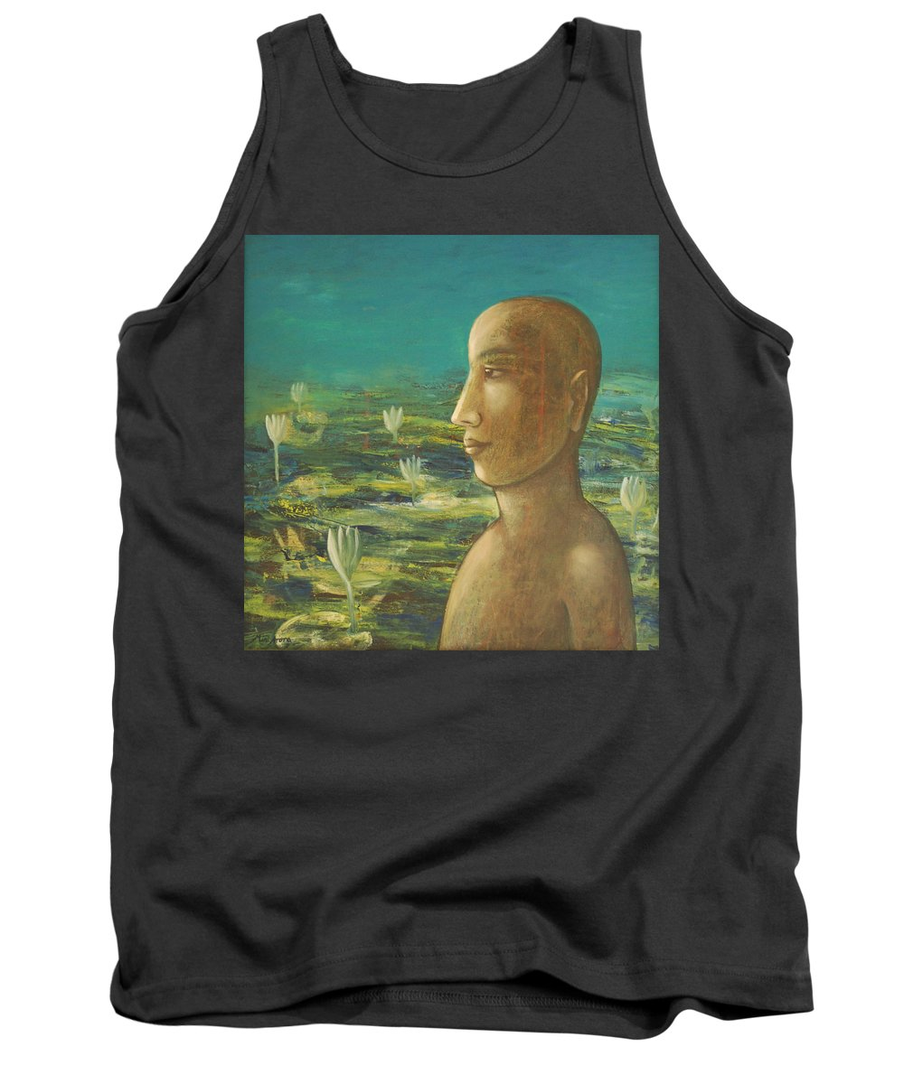 Buddha Tank Top featuring the painting In The Realm Of Buddha by Mini Arora