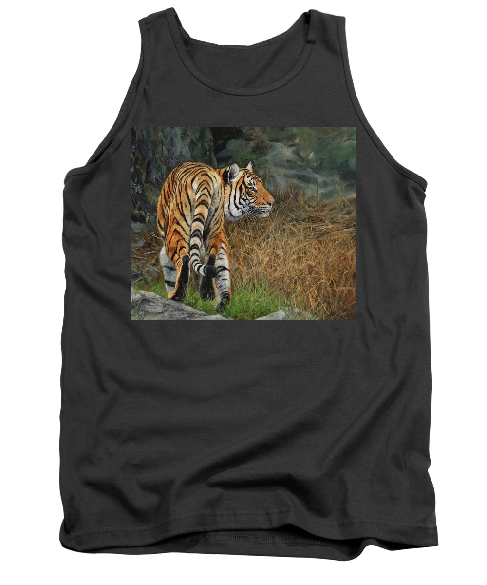 Tiger Tank Top featuring the painting Indo-chinese Tiger by David Stribbling
