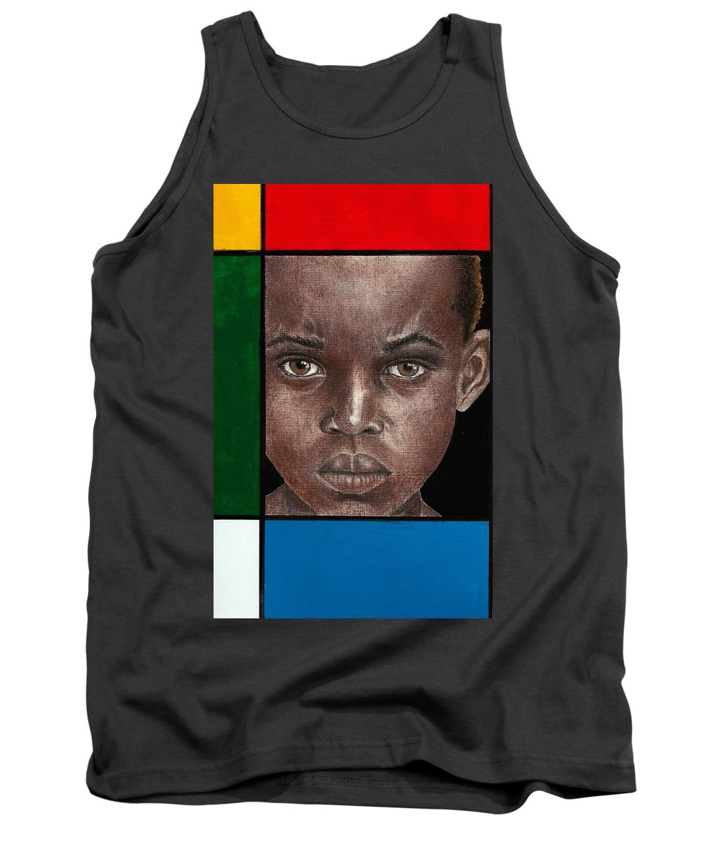 African American Artwork Tank Top featuring the mixed media Intense by Edith Peterson-Watson