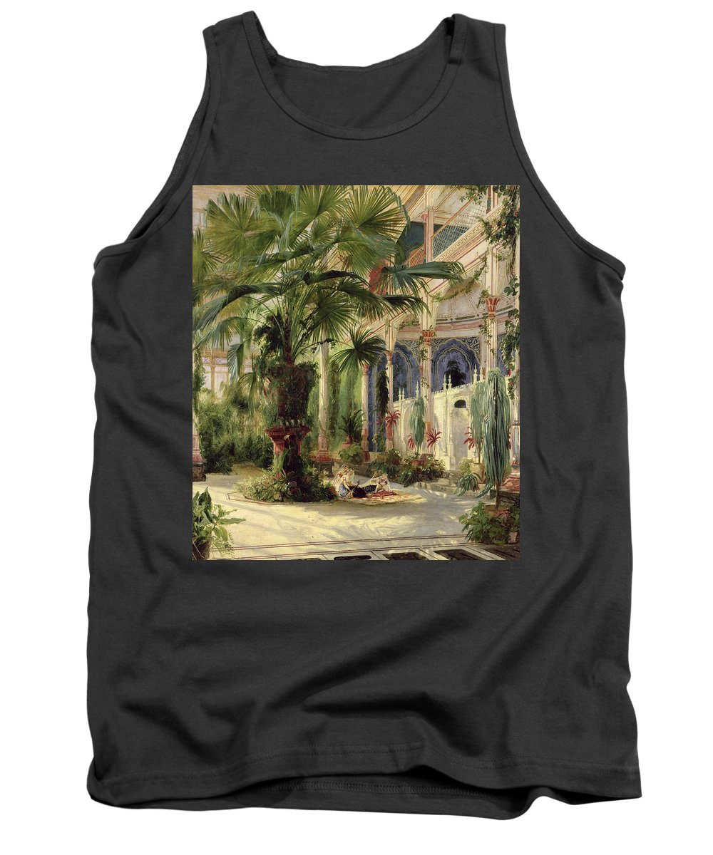 Interior Of The Palm House At Potsdam Tank Top featuring the painting Interior Of The Palm House At Potsdam by Karl Blechen