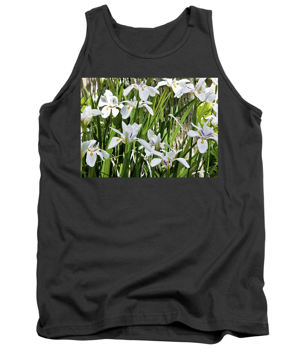 Iris Tank Top featuring the photograph Irises Dancing In The Sun Painted by Rich Franco