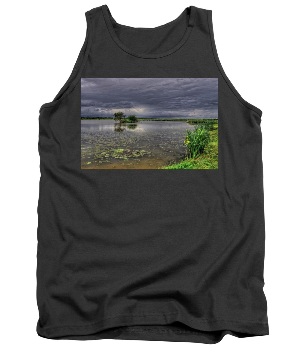 Reflection Tank Top featuring the photograph Island And Flowers by Ivan Slosar