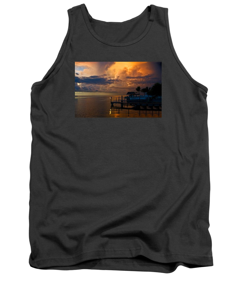 Island Storm Tank Top featuring the photograph Tropical Island Storm Over Florida Keys Docks by Ginger Wakem