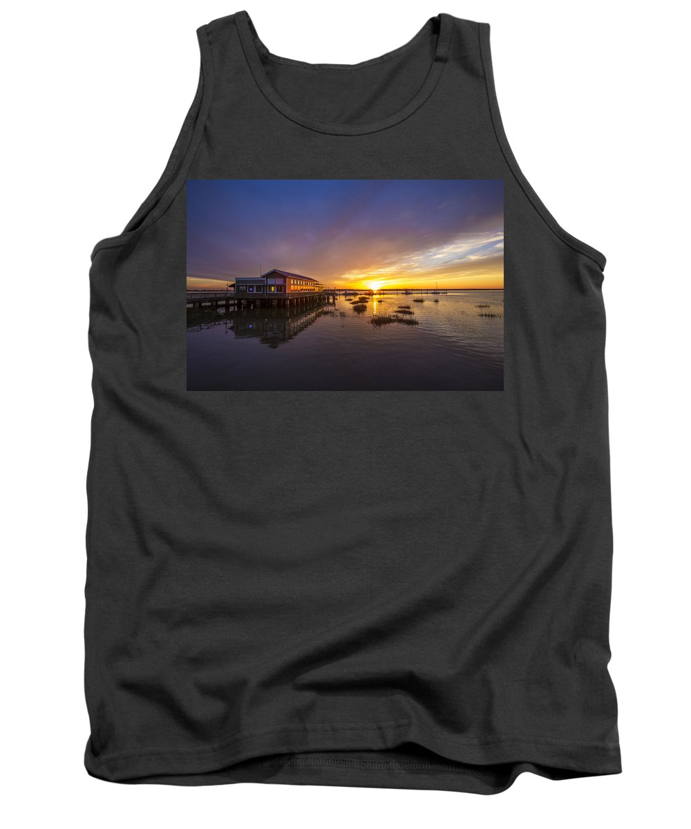 Clouds Tank Top featuring the photograph Island Sunset by Debra and Dave Vanderlaan