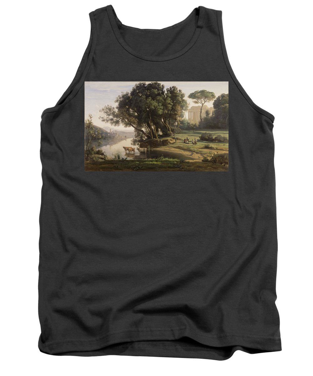 Corot Tank Top featuring the painting Italian Landscape by Jean Baptiste Camille Corot