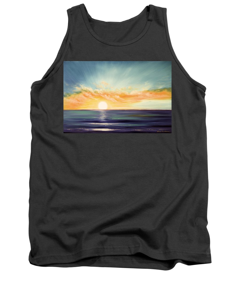 Sunset Tank Top featuring the painting It's a New Beginning Somewhere Else by Gina De Gorna