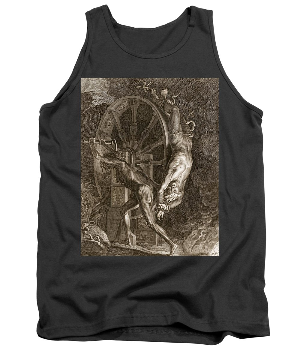 Punishment Tank Top featuring the drawing Ixion In Tartarus On The Wheel, 1731 by Bernard Picart