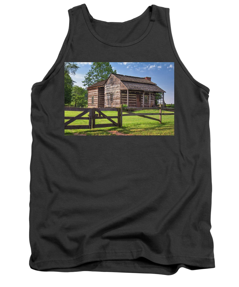 Jackson's Mill Tank Top featuring the photograph Jacksons Mill Cabin by Mary Almond