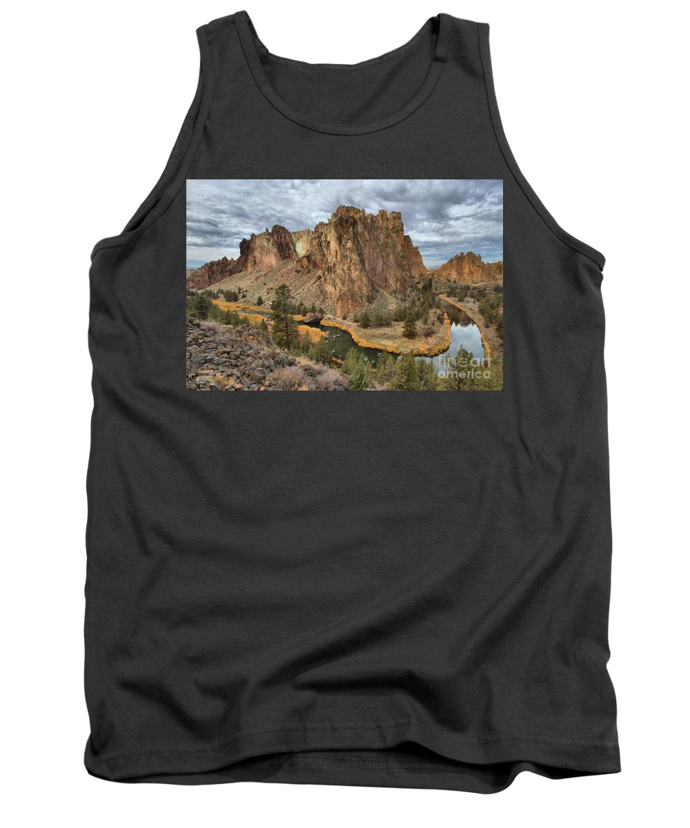 Smith Rock Tank Top featuring the photograph Jagged Peaks And River Reflections by Adam Jewell