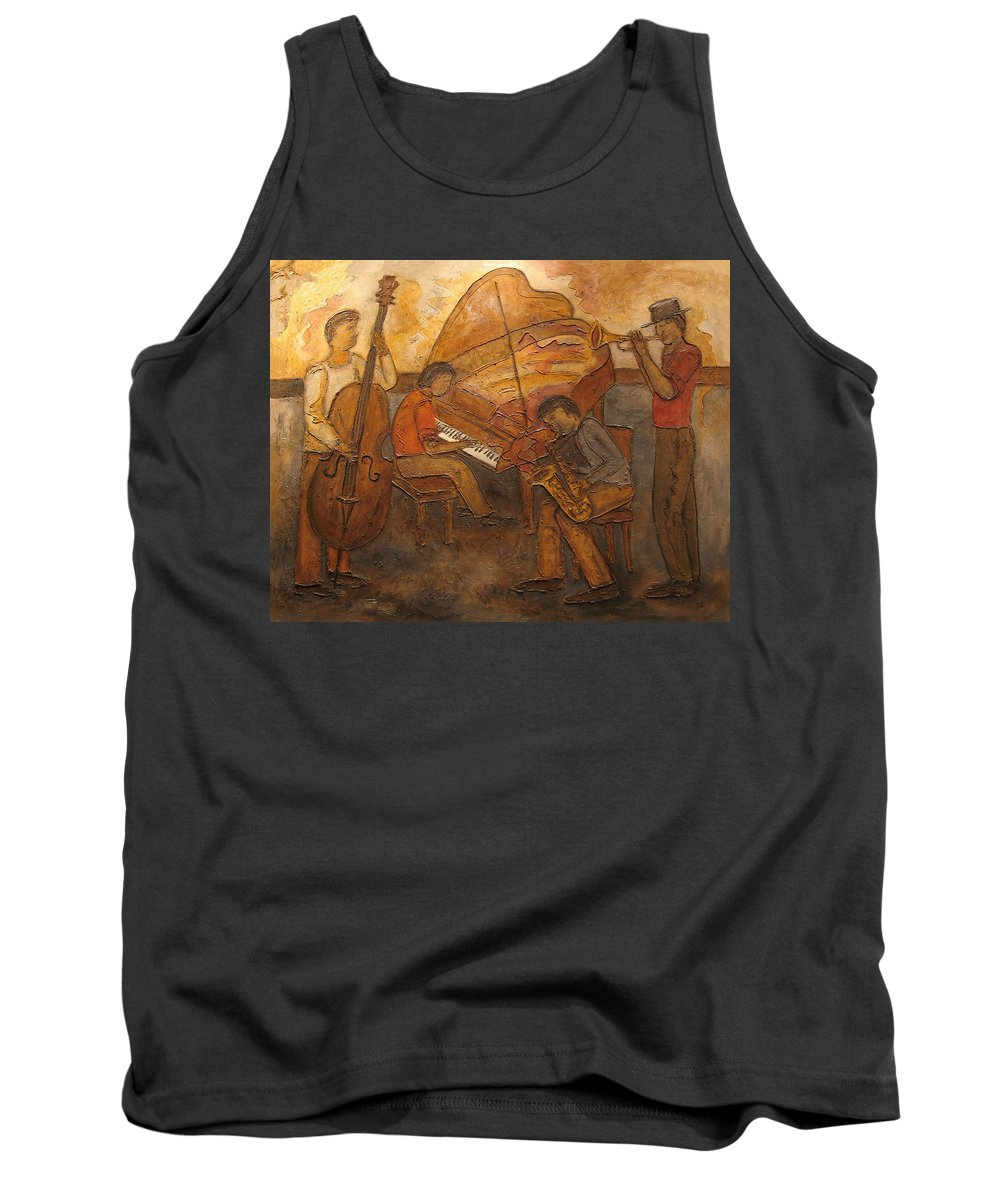 Impressionist Tank Top featuring the painting Jazz Quartet by Anita Burgermeister