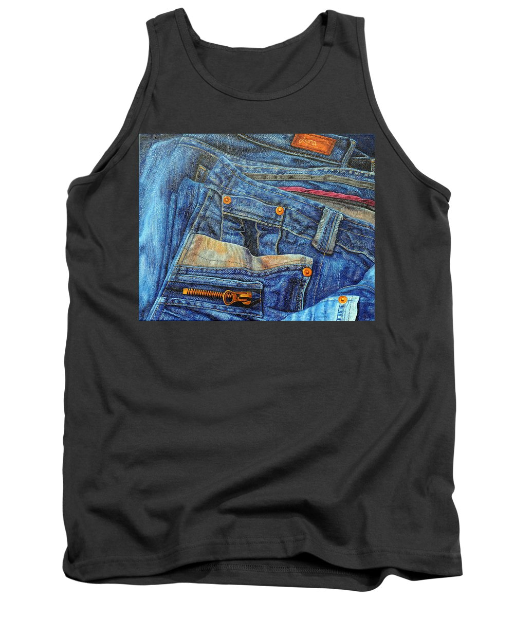 Country Tank Top featuring the painting Jean Junkie by Luna
