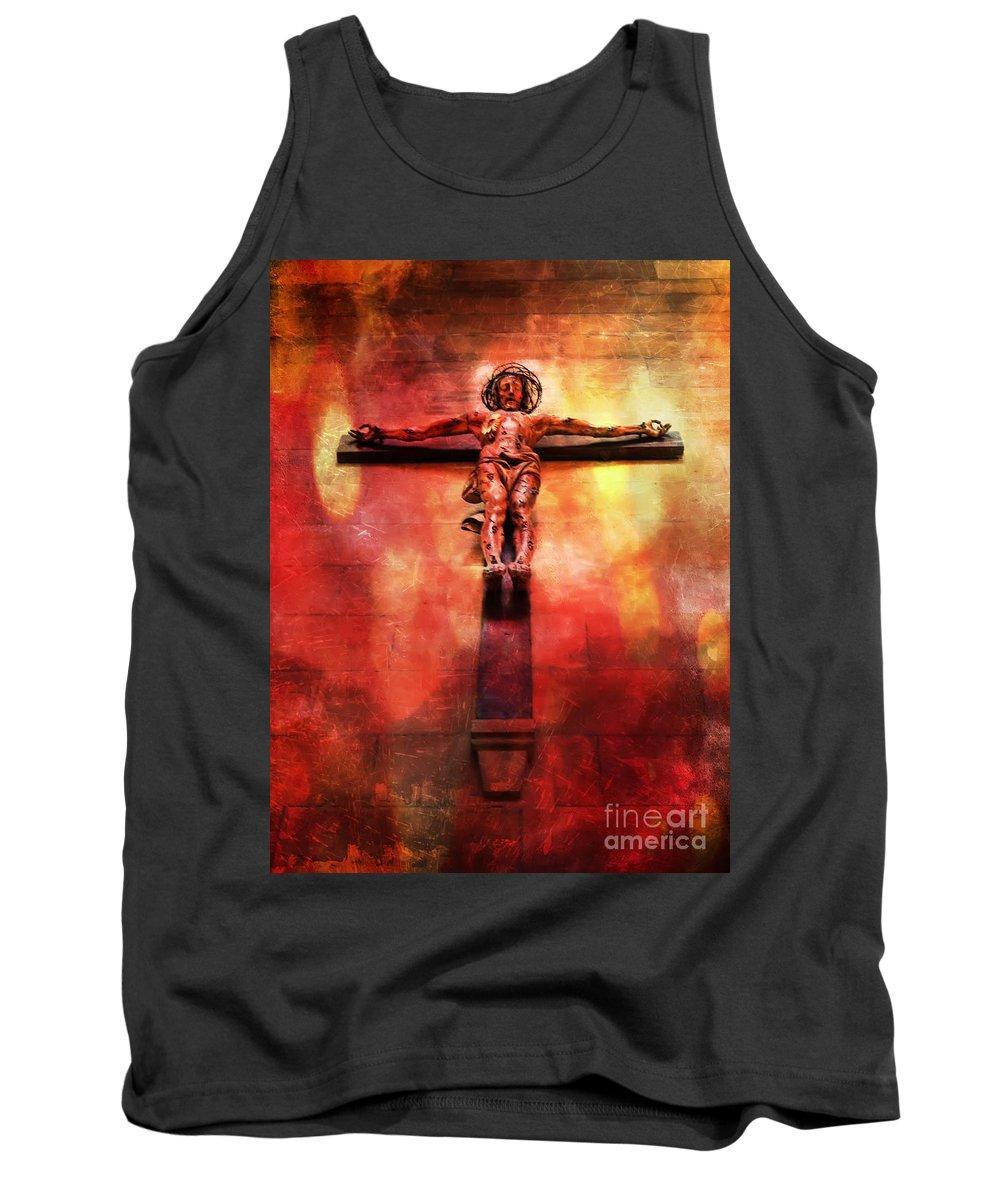 Jesus Tank Top featuring the digital art Jesus Christ On The Cross by Justyna JBJart