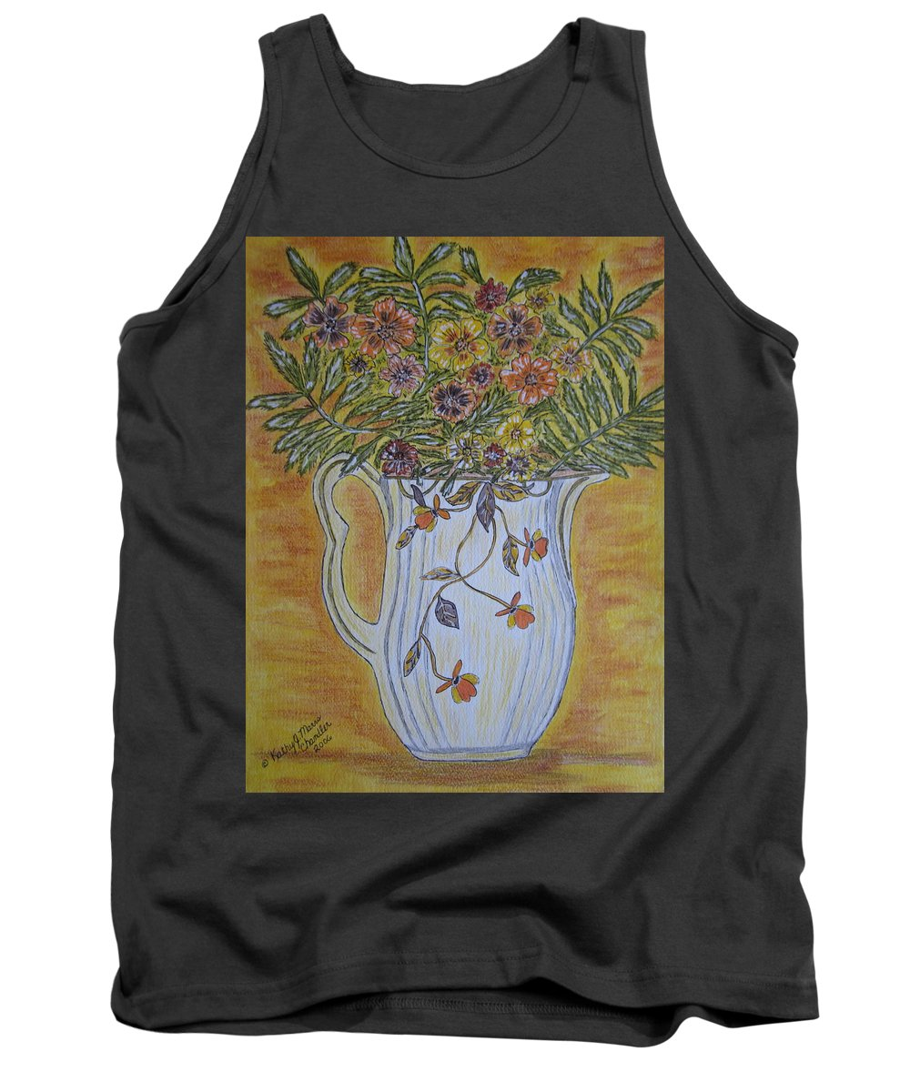 Jewel Tea Tank Top featuring the painting Jewel Tea Pitcher With Marigolds by Kathy Marrs Chandler