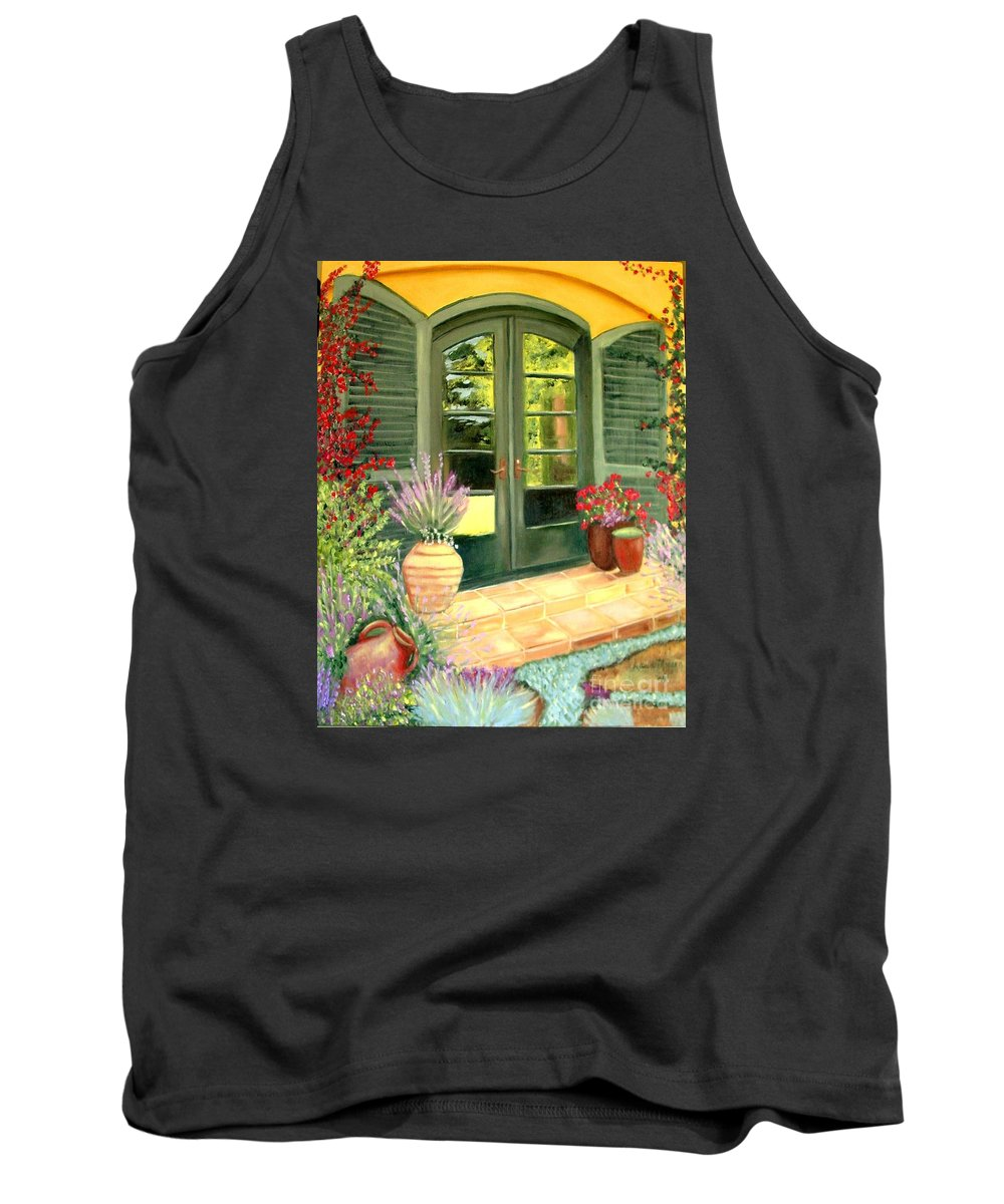 Shutters Tank Top featuring the painting Jill's Patio by Laurie Morgan