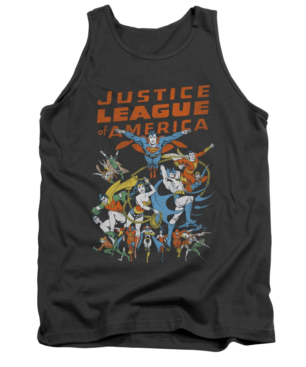 Justice League Of America Tank Top featuring the digital art Jla - Big Group by Brand A