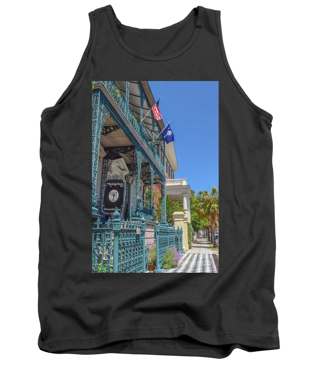 Ornate Fence Tank Top featuring the photograph John Rutledge House by Dale Powell