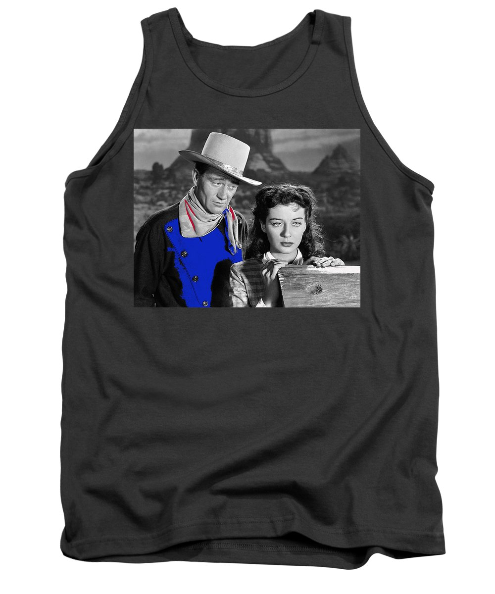 John Wayne Gail Russell Angel And The Badman Publicity Photo 1947 Tank Top featuring the photograph John Wayne Gail Russell Angel And The Badman Publicity Photo 1947-2012 by David Lee Guss