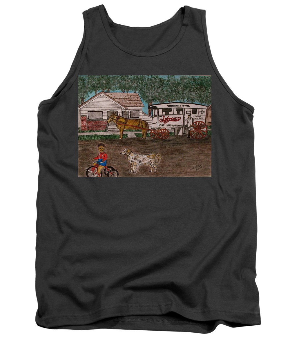 Johnson Creamery Tank Top featuring the painting Johnsons Milk Wagon Pulled By A Horse by Kathy Marrs Chandler