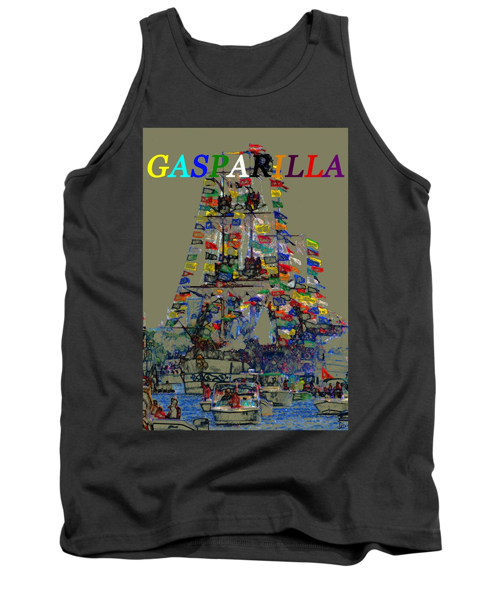 Gasparilla Pirate Festival Tampa Florida Tank Top featuring the painting Jose Gaspar Ship Vertical Work by David Lee Thompson