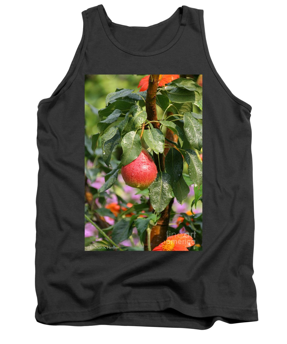 Flower Tank Top featuring the photograph Juicy Fresh Pear by Susan Herber