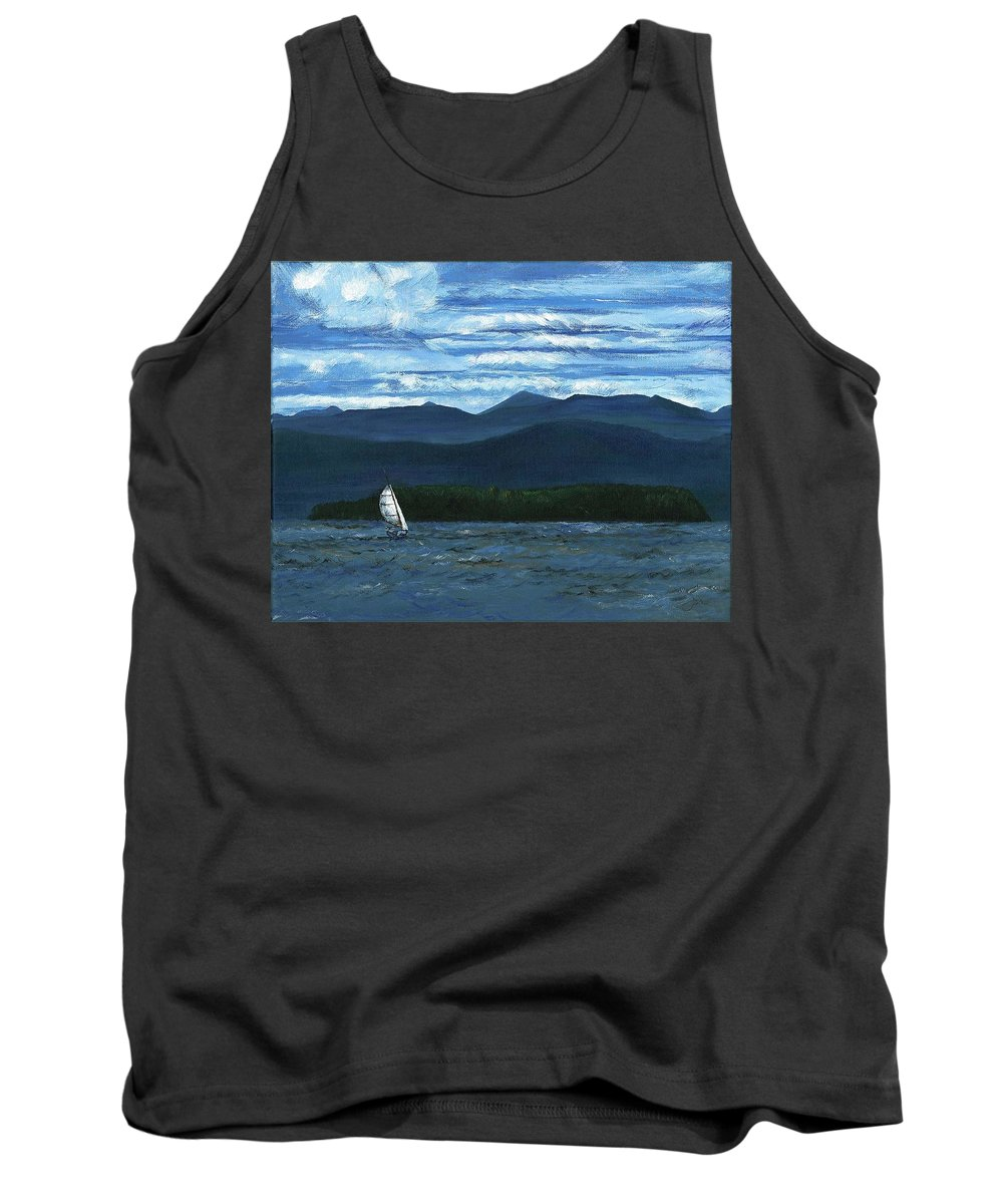 Landscape Tank Top featuring the painting Juniper Island Lake Champlain Vt/ny by Judith Rice