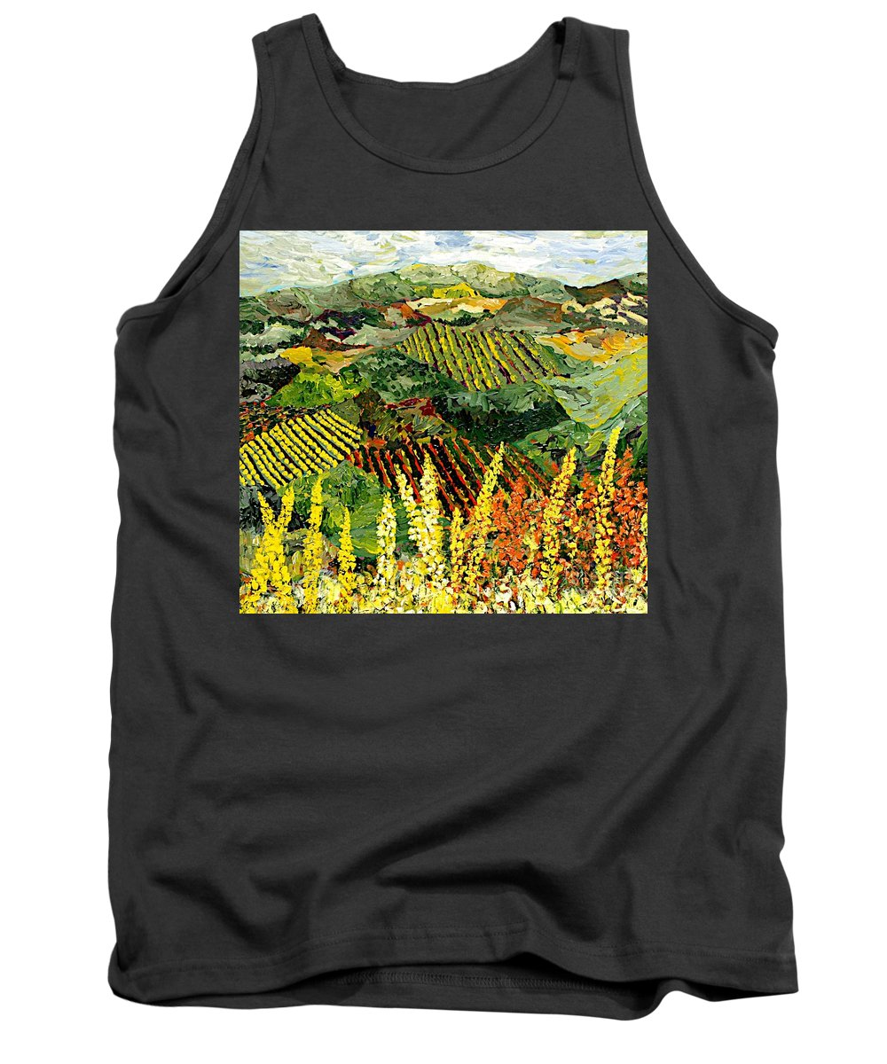 Landscape Tank Top featuring the painting Just A Little Valley by Allan P Friedlander