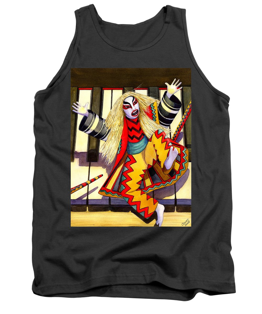 Kabuki Tank Top featuring the painting Kabuki Chopsticks 3 by Catherine G McElroy