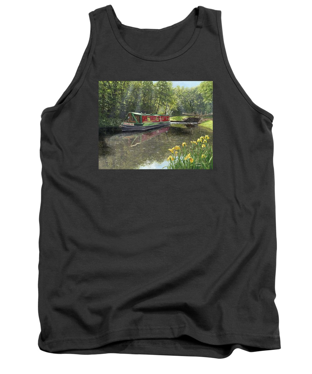Landscape Tank Top featuring the painting Kathleen May Chesterfield Canal Nottinghamshire by Richard Harpum