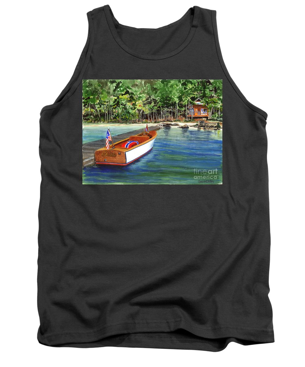 Classic Wooden Boat Tied To Dock On Lake Tank Top featuring the painting Kathy's Boat by Susan Dalby
