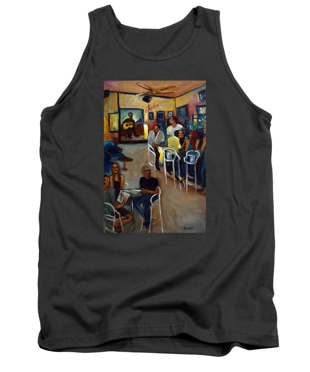 Art Bar Tank Top featuring the painting Kevro's Art Bar by Valerie Vescovi