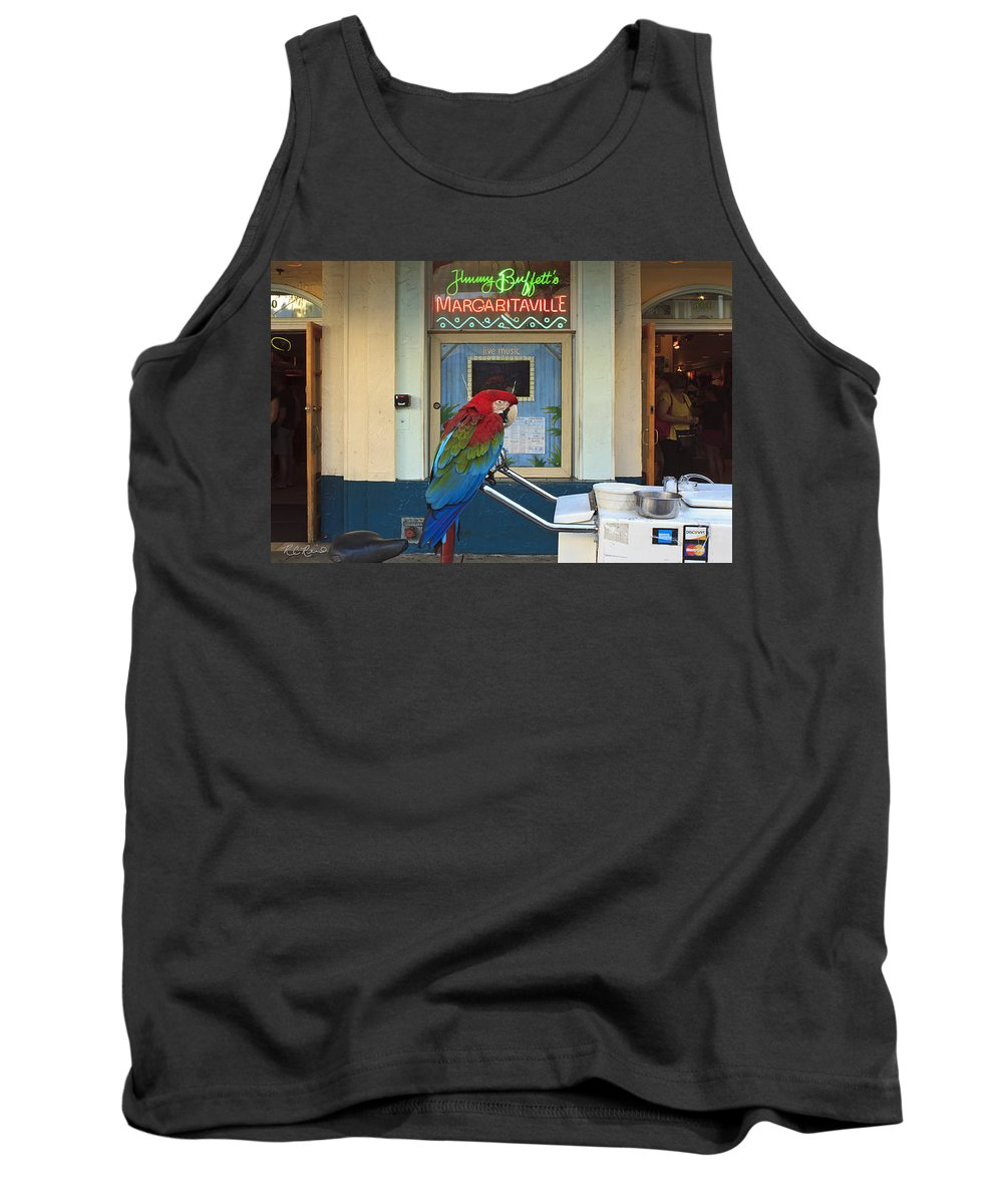 Florida Tank Top featuring the photograph Key West - Parrot Taking A Break At Margaritaville by Ronald Reid