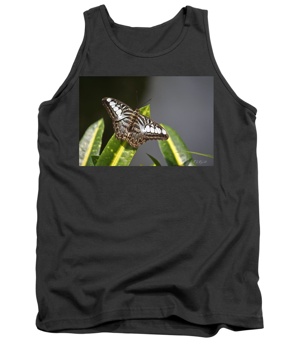 Florida Tank Top featuring the photograph Key West Butterfly Conservatory - In Brown And White by Ronald Reid