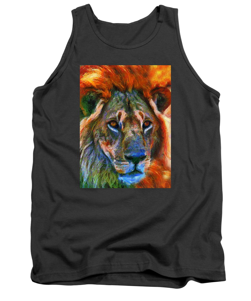 Lion Tank Top featuring the mixed media King Of The Wilderness by Georgiana Romanovna