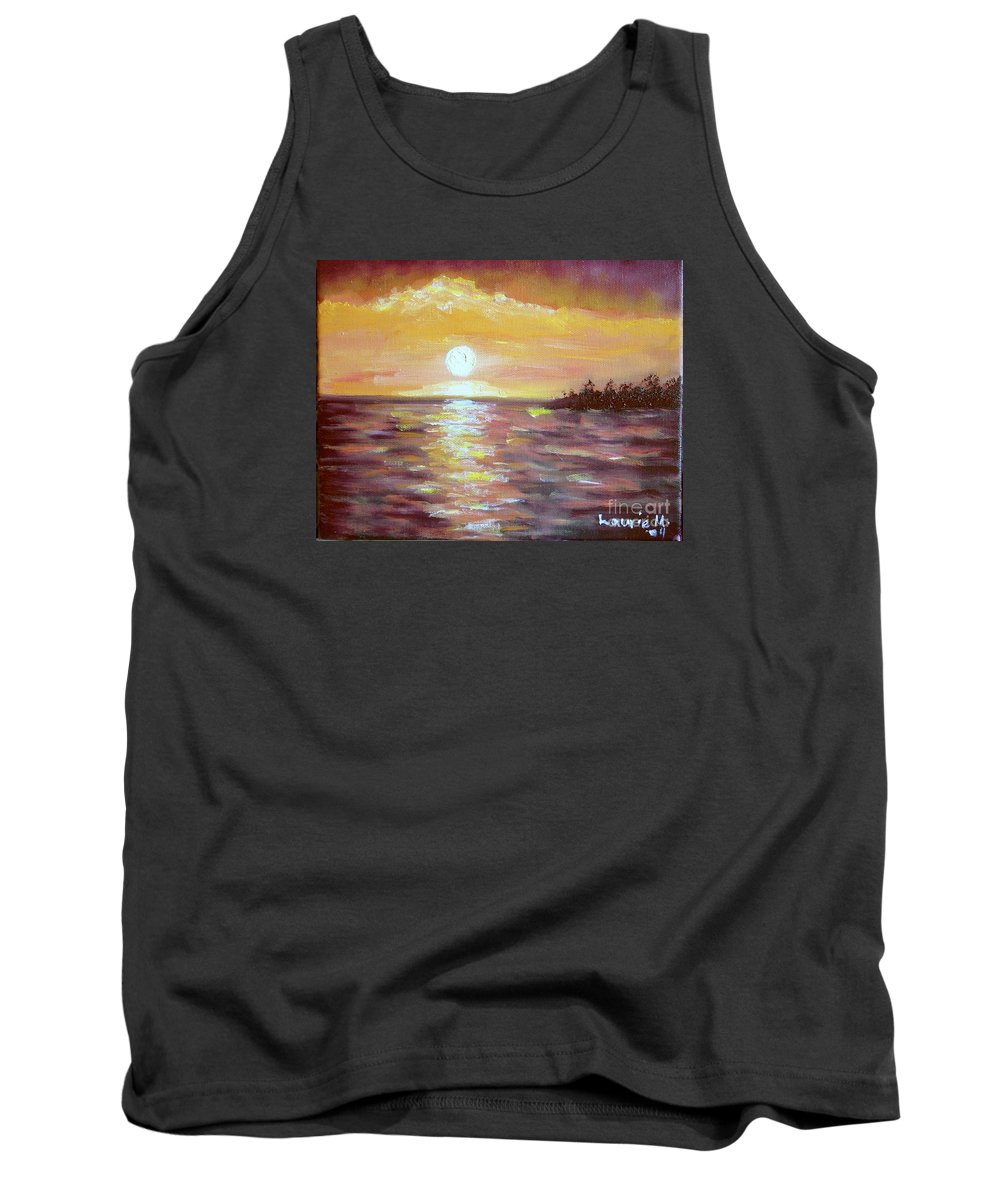Sunset Tank Top featuring the painting Kona Sunset by Laurie Morgan