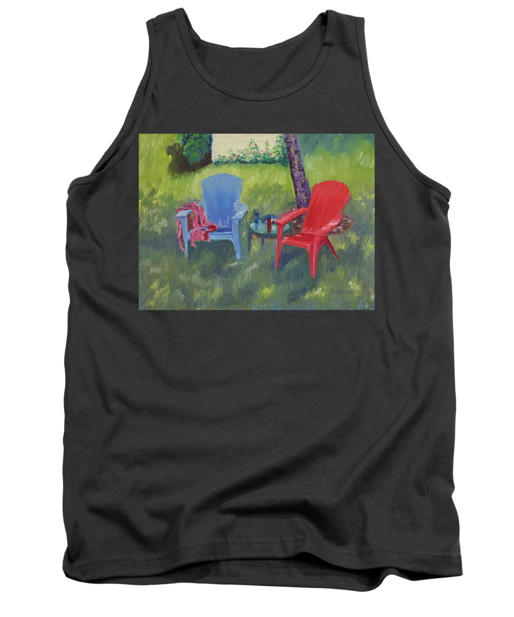 Landscape Tank Top featuring the painting Labor Day Weekend by Lea Novak